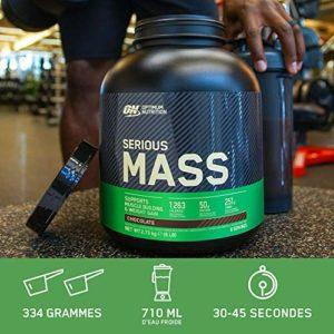 Optimum Nutrition Serious Mass, Mass Gainer Whey, Proteines Musculation Prise de Masse avec Vitamines, Creatine et Glutamine, Fraise, 16 Portions, 5.45kg, l'Emballage Peut Varier