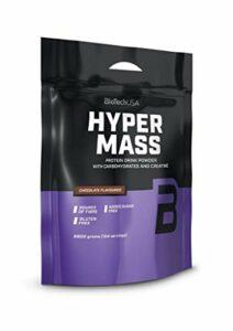 BioTechUSA Hyper Mass Une boisson en poudre à base de glucides et de protéines avec de la créatine, source de fibres, sans sucre ajouté, 6.8 kg, Fraise
