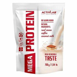 Activlab Mega Protein Paquet de 1 x 700g Concentré de Protéines de Lactosérum Avec Créatine Monohydrate et Taurine Sans Sucres Ajoutés (Tiramisu)