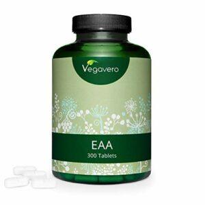 EAA Vegavero® | 100% NATUREL | 8 Acides Aminés Essentiels (dont BCAA 2:1:1) + Histidine | 1000 mg par comprimé | Récupération et développement musculaire | 300 Comprimés | Sans additifs | VEGAN