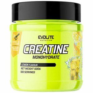 Evolite Nutrition Creatine Monohydrate Paquet de 1 x 500g – Poudre de Monohydrate de Créatine – Supplément pour Athlètes – 100 Portions – Pompe – Entraînement – Acide Aminé (Lemon)