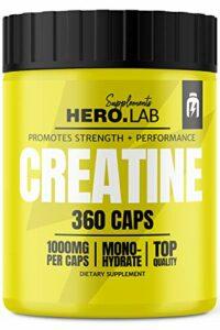 Hero.Lab Creatine Monohydrate – 1 pack x 360 capsules – Créatine pour améliorer la force musculaire – Facilement digestible – En capsules faciles à avaler