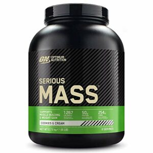 Optimum Nutrition Serious Mass, Mass Gainer avec Whey, Proteines Musculation Prise de Masse avec Vitamines, Creatine et Glutamine, Cookies & Crème, 8 Portions, 2.73kg, l'Emballage Peut Varier