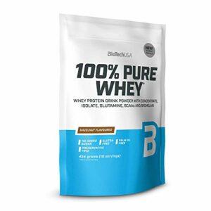 BioTechUSA 100% Pure Whey Complexe de protéines de lactosérum et de bromélaïne, avec des acides aminés, sans sucres ajoutés, sans huile de palme, 454 g, Noisette