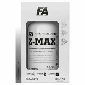 FITNESS AUTHORITY Z-MAX 90 Comprimés – Booster De Testostérone – Zinc, Magnésium Et Vitamine B6 – Soutien Hormonal – ZMA – Récupération