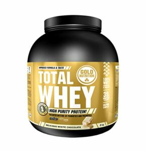 Goldnutrition Total Whey Protein 2kg, Chocolat Blanc, Augmente et Préserve les Muscles