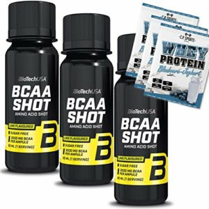 Biotech USA BCAA Shot Lot de 3 ampoules + 3 sachets de lactosérum 25 g