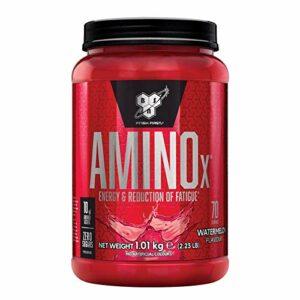BSN Nutrition Amino X, BCAA Poudre, Complement Alimentaire avec Vitamine D et Acides Aminés, Saveur Pastèque, 70 Portions, 1kg