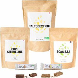 Coffret Performance • L-Citrulline • Maltodextrine • BCAA 2.1.1 • 2 Barres protéinées Bio • Pour augmenter la performance pendant un effort intensif ou d'endurance • NUTRIPURE