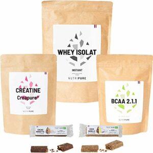 Coffret Prise de Muscles • Whey Isolat Native • BCAA 2.1.1 • Créatine • 2 Barres protéinées Bio • Idéal pour la prise de masse musculaire • NUTRIPURE