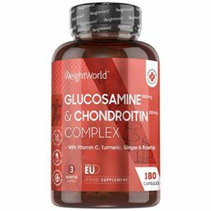 Glucosamine Chondroïtine Complexe – 180 Capsules | Articulations et Mobilité – Complément Alimentaire Muscles, Os et Cartilage – Avec 2KCL, Vitamine C, Curcuma, Rose Musquée – Fabriqué en EU