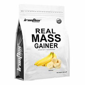 IronFlex Real Mass Gainer Paquet de 1 x 1000g – Mass Gainer – Glucides – Concentré et Isolat de Protéine de Lactosérum – Caséine Micellaire – Croissance Musculaire – Acides Aminés (Banana)