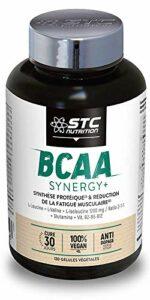 STC NUTRITION — BCAA Synergy+ — Complément alimentaire riche en acides aminés branchés — Augmente la résistance à l'effort — Réduit la fatigue musculaire — Limite les courbatures — 120 gélules — Vegan