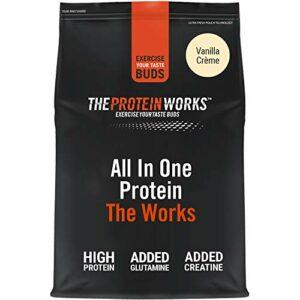 THE PROTEIN WORKS Tout-En-Un The Works | Shake Protéiné Complet | Avec Glutamine et Créatine | Créme Vanilée | 4kg