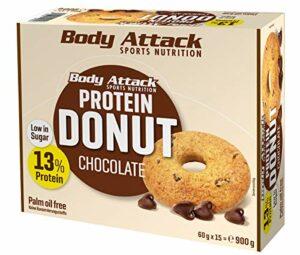 Body Attack Protein Donut, 13% Protein aus hochwertigem Egg- und Whey Protein, Palmölfrei, vegetarisch, zuckerarm, perfekte Alternative zu herkömmlichen Gebäck, Box (Chocolate, 15 x 60g)