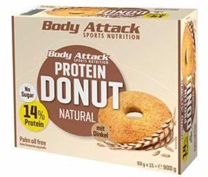 Body Attack Protein Donut, 13% Protein aus hochwertigem Egg- und Whey Protein, Palmölfrei, vegetarisch, zuckerarm, perfekte Alternative zu herkömmlichen Gebäck, Box (Natural, 15 x 60g)