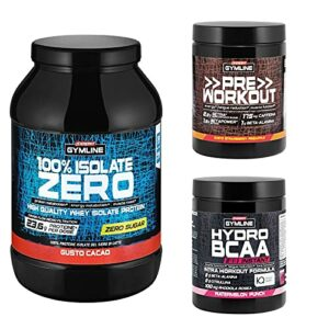 enervit Gymline Advanced Workout Stack | 100 % Isolate Zero Cacao 900 g + Pre Workout Fraise Ananas 313 g + Hydro BCAA 2:1:1 Instant Angurie 335 g