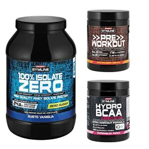 enervit Gymline Advanced Workout Stack | 100 % Isolate Zero Vanille 900 g + Pre Workout Fraise Ananas 313 g + Hydro BCAA 2:1:1 Instant Angurie 335 g