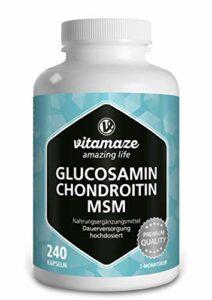 Glucosamine, Chondroitine, MSM + Vitamine C Complexe VITAL, 240 Gelules pour 2 Mois, Complément Alimentaire Naturel sans Additifs Inutiles