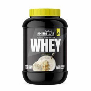Hiro.Lab Instant Whey Protein 2000g – Poudre de concentré de protéine de lactosérum – Shake for Muscle Mass – Sans gluten – Faible en gras (Chocolat blanc)