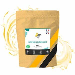 Native Whey& Caséine Mix Zéro•Sans Lactose•Protéine Totale non dénaturée • Mélange natif Whey isolat + Caséine micellaire•Arôme Vanille•Fabriquéen France•AM Nutrition