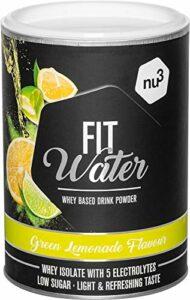 nu3 Protein Water Green Lemonade 300 g de poudre – 21,7 g d'Iso Whey Protein par boisson – protéine soluble dans l'eau avec un goût fruité rafraîchissant – pauvre en calories et en sucre, végétarien