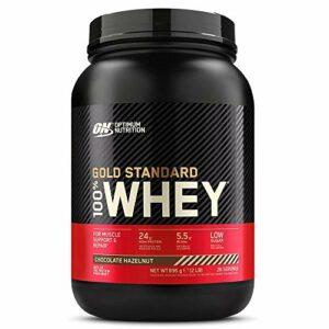 Optimum Nutrition Gold Standard 100% Whey Protéine en Poudre avec Whey Isolate, Proteines Musculation Prise de Masse, Chocolat Noisette, 28 Portions, 0.9kg, l'Emballage Peut Varier