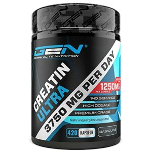 Creatine Ultra Caps – 420 capsules avec 1250 mg chacune de créatine monohydrate pure – Premium : Ultrafine + Mesh Factor of 200 – Haute Dose