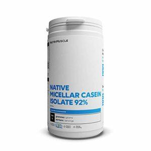 Isolat de Caséine Micellaire   Pureté record 92% • Prise de muscle • Coupe-faim • Assimilation très lente • Sans OGM • Musculation & Fitness  Nutrimuscle  Nature – 500 g
