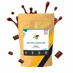 Native Whey& Caséine Mix Zéro•Sans Lactose•Protéine Totale non dénaturée • Mélange natif Whey isolat + Caséine micellaire•Arôme Chocolat•Fabriquéen France•AM Nutrition