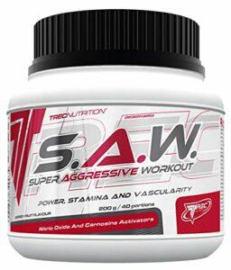 Trec Nutrition S.A.W. Concentration musculaire maximisée et pompe énergétique, pour le sport, la créatine et le bodybuilding – Boîte de 200 g (cerisier, pamplemousse)