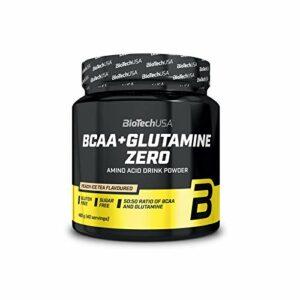 BioTech USA BCAA + Glutamine Zero Paquet de 1 x 480g Régénération musculaire – Acides Aminés à Chaîne Ramifiée (Peach Ice Tea)