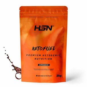 HSN Keto Fuel | Gain de poids et de masse musculaire adapté au régime Keto | Whey + Egg Protein + Coconut MCT | Végétarien, sans gluten, sans sucre | Chocolat | 2Kg