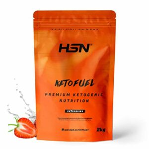 HSN Keto Fuel | Gain de poids et de masse musculaire adapté au régime Keto | Whey + Egg Protein + Coconut MCT | Végétarien, sans gluten, sans sucre | Fraise | 2Kg