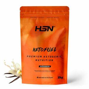 HSN Keto Fuel | Gain de poids et de masse musculaire adapté au régime Keto | Whey + Egg Protein + Coconut MCT | Végétarien, sans gluten, sans sucre | Vanille | 2Kg