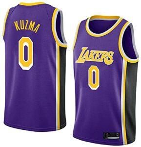 MMWW Maillots De Basketball Brodés De Lakers Respirants – # 0 Ku-ZMA,Violet,L