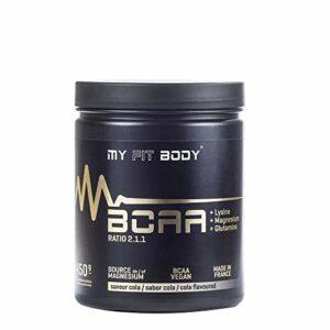 My Fit Body – BCAA's Gama Elite – Complément Sportif – Favorise la Récupération – Réparation Musculaire – Améliore votre Rendement Sportif – Acides aminés Rafinés – Saveur Cola – 450 gr.