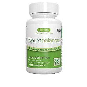 Neurobalance – zmb6, Zinc Picolinate, Citrate de Magnesium et vitamine B6, Vegan 360 comprimés