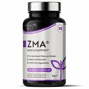 ZMA haute résistance – 120 capsules Végan – Zinc, magnésium et vitamine B6 – Contribue à la fonction musculaire normale, aux niveaux de testostérone et au métabolisme énergétique – Par Nutravita