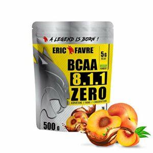 BCAA POUDRE 8.1.1 Zero – Acides Aminés Musculation Vegan – Votre Allié Pour Des Entrainements Efficaces – Performance Accentuée – 500 Gr – Laboratoire Français Eric Favre (Thé Pêche)