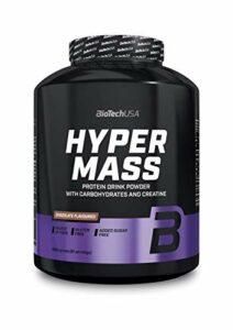 BioTechUSA Hyper Mass Une boisson en poudre à base de glucides et de protéines avec de la créatine, source de fibres, sans sucre ajouté, 4 kg, Noisette
