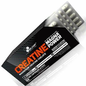 CREATINE MAGNA POWER – Créatine anabolique enrichie en magnésium – Pilules de musculation pour la croissance de la masse musculaire | Blisters – pas de boîte (180 gélules)
