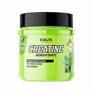 Evolite Nutrition Creatine Monohydrate 500g – Booster Musculation – Keratine Pure – Complement Alimentaire Pour Grossir – Prise de Masse (Pomme verte)