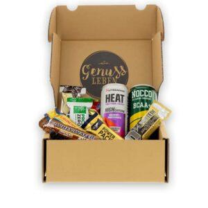 Genussleben Boîte de barres protéinées Premium Mix 7 pièces et 2 x boissons BCAA – Haute protéine – Différentes marques