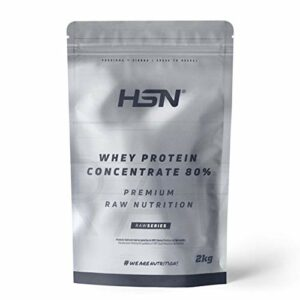 HSN Whey Protein Concentrate 80%   Concentré de protéines de lactosérum brut 80%   Protéines Premmium Raw   Convient au régime végétarien   Sans gluten, Sans soja   2Kg