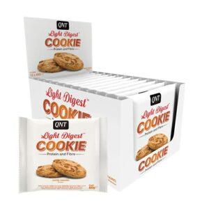 QNT Light Digest Cookie caramel beurre salé, 22% de whey protéines, riche en fibres, savoureux & sain, boîte de 15 barres (12 x 60g)