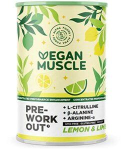Vegan Muscle® – Booster de performance de pré-entraînement – Booster d'énergie végétalien avec L-Citrulline, Beta-Alanine, Arginine-Alpha et Créatine – Goût citron-citron vert – 300g