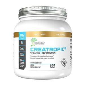 Creatropic® Créatine + Nootropics Poudre 500mg   100 doses   Musculation & Puissance  Améliore la performance mentale  Sans goût  Sans agents de remplissage   Vegan   Fabriqué au Royaume Uni