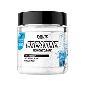 Evolite Nutrition Creatine Monohydrate 500g – Booster Musculation – Keratine Pure – Complement Alimentaire Pour Grossir – Prise de Masse (Peu recommandable)